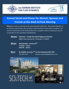 Annual Social and Dinner for Alumni, Spouses and Friends at the AIAA SciTech Meeting!